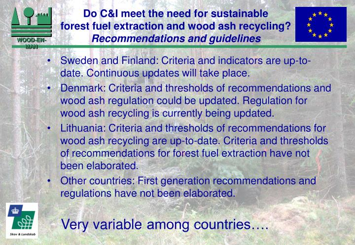 Do C&I meet the need for sustainable