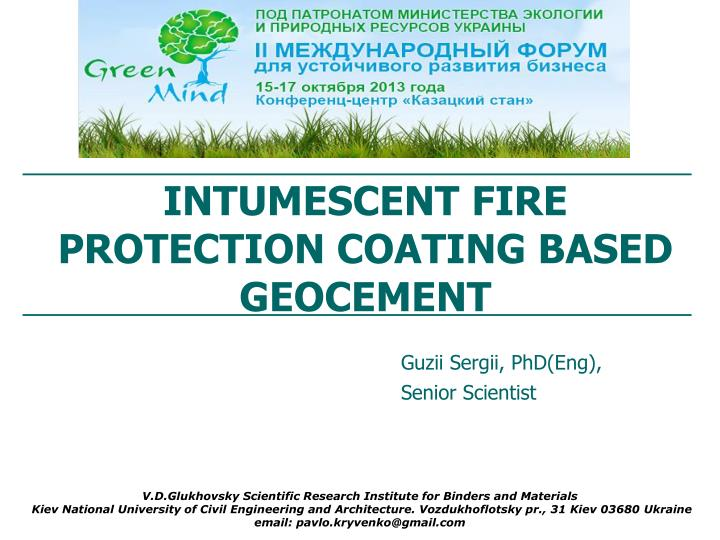 Intumescent fire protection coating based geocement