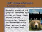 earth explore adventures student application process