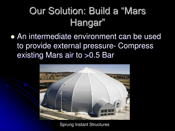 "Our Solution: Build a ""Mars Hangar"""