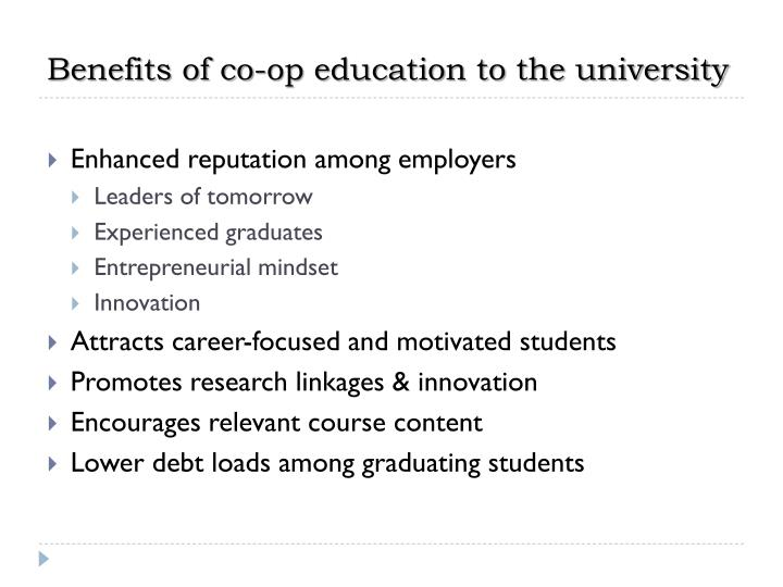 Benefits of co-op education to the university