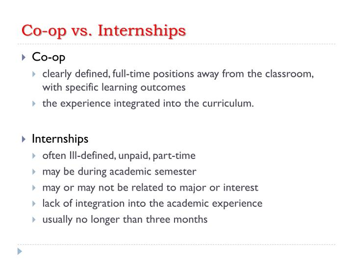 Co-op vs. Internships