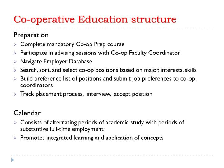 Co-operative Education structure