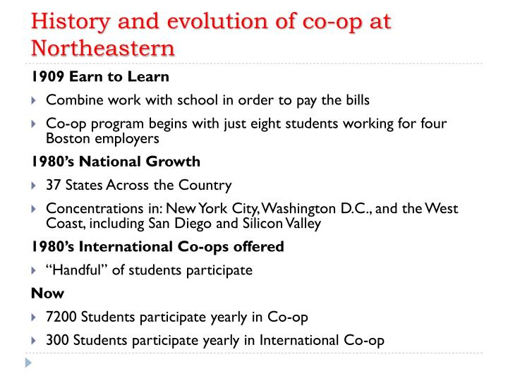 History and evolution of co-op at Northeastern