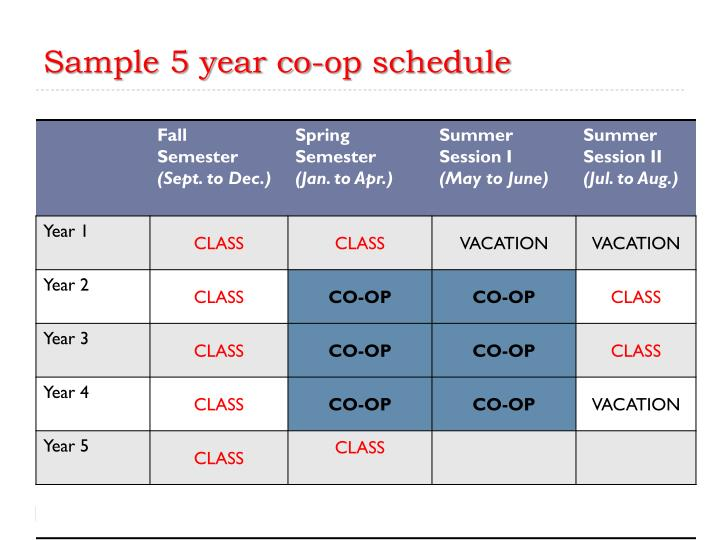 Sample 5 year co-op schedule