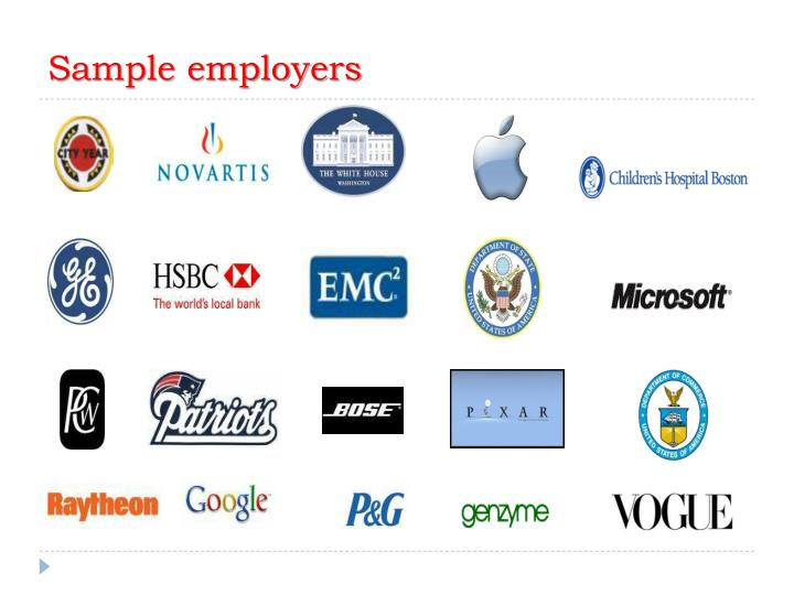 Sample employers