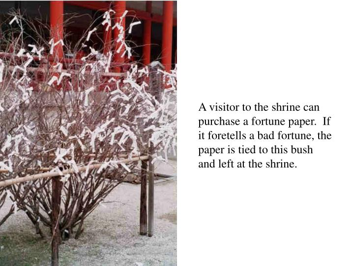 A visitor to the shrine can purchase a fortune paper.  If it foretells a bad fortune, the paper is tied to this bush and left at the shrine.