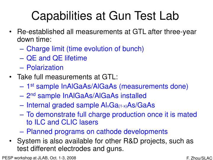 Capabilities at Gun Test Lab