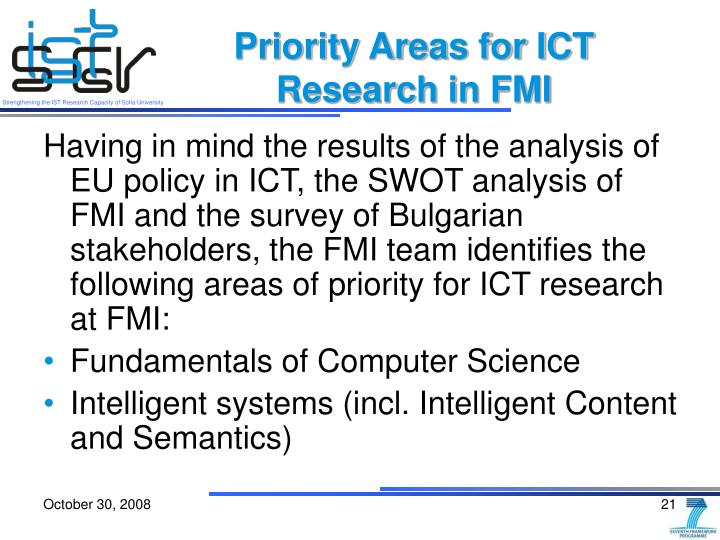 Priority Areas for ICT Research in FMI