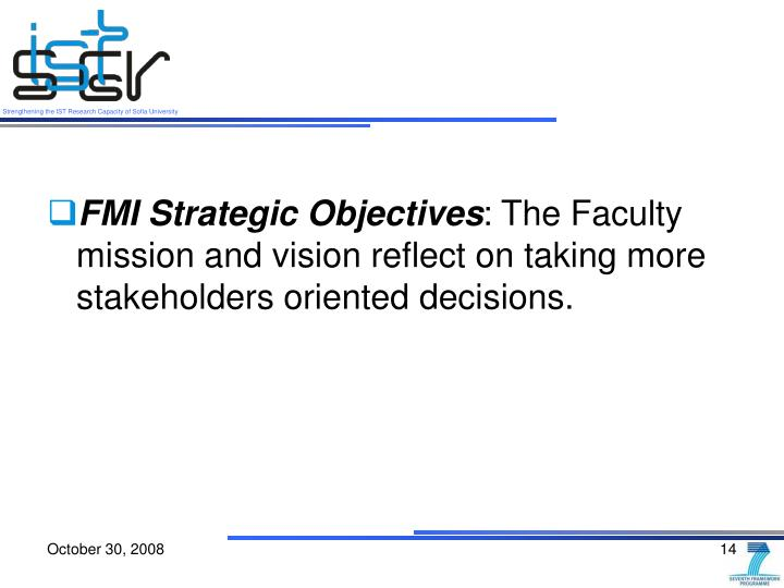 FMI Strategic Objectives