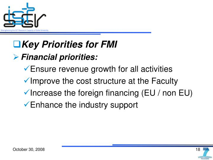Key Priorities for FMI