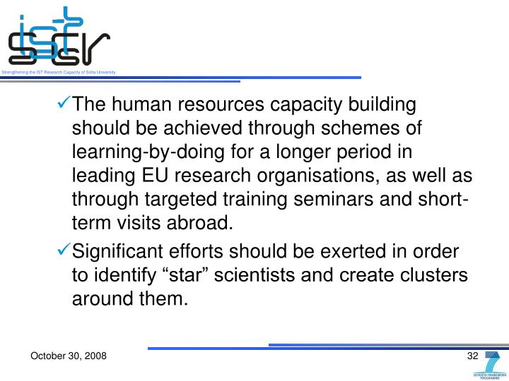 The human resources capacity building should be achieved through schemes of learning-by-doing for a longer period in leading EU research organisations, as well as through targeted training seminars and short-term visits abroad.