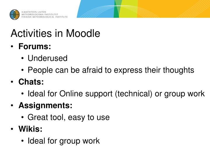Activities in Moodle