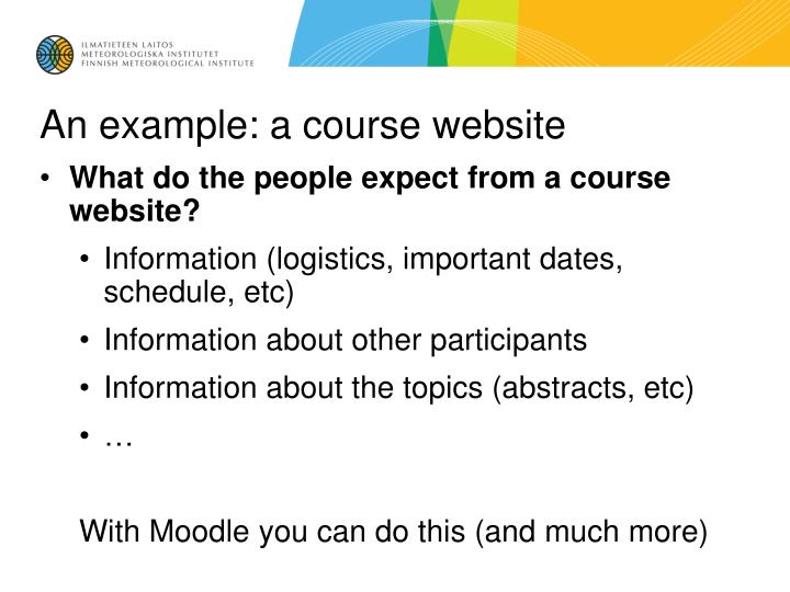 An example a course website
