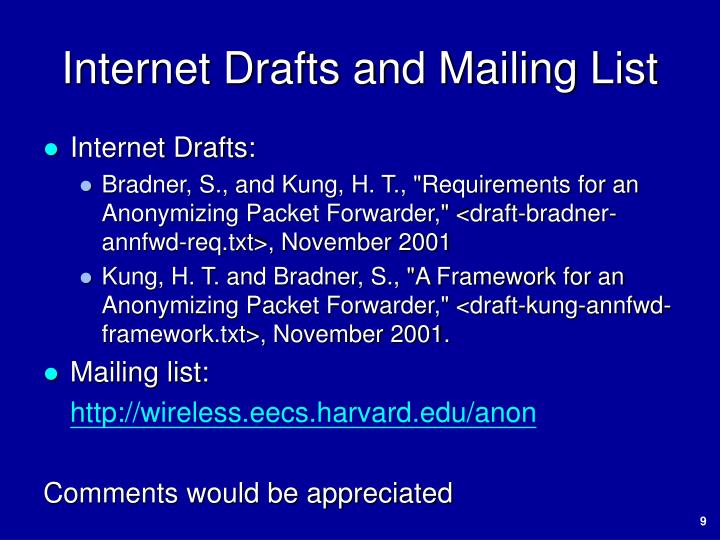 Internet Drafts and Mailing List