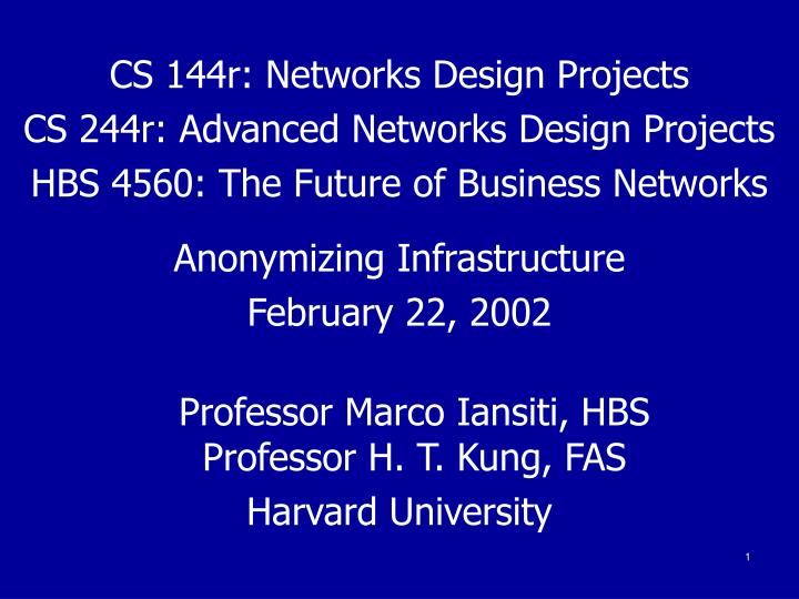 CS 144r: Networks Design Projects
