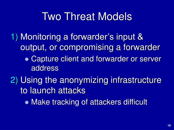 Two Threat Models