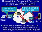 uncorrelated per packet encryption in our experimental system