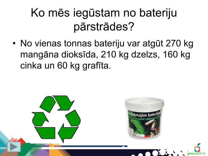 Ko mēs iegūstam no bateriju pārstrādes?