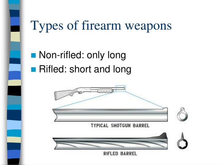 Types of firearm weapons