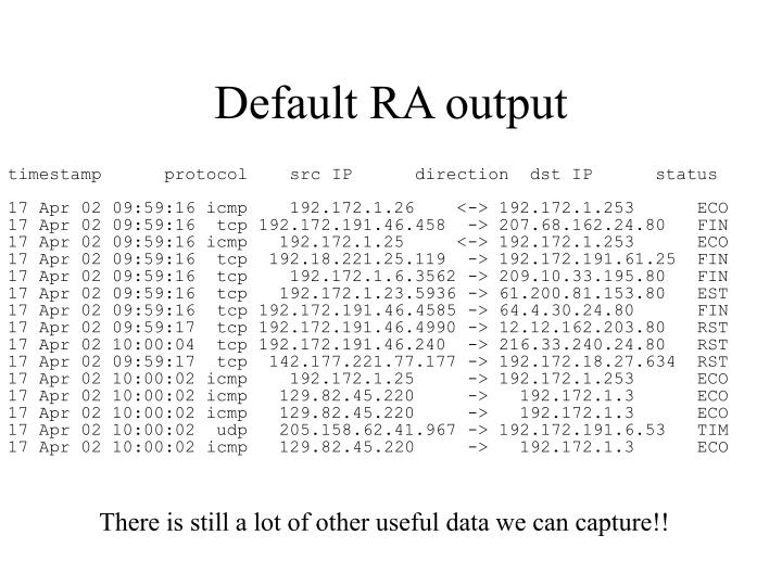 Default RA output