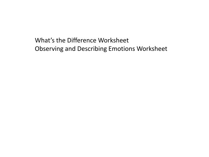 What's the Difference Worksheet