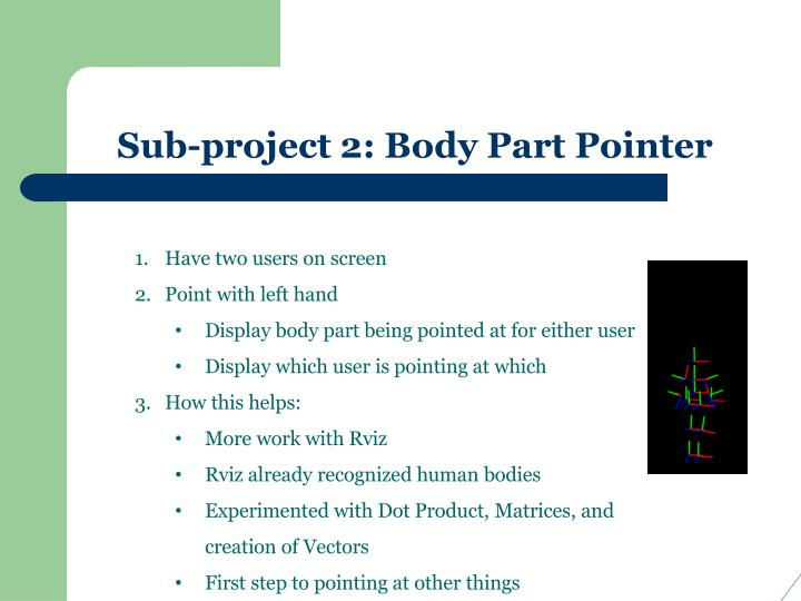 Sub-project 2: Body Part Pointer