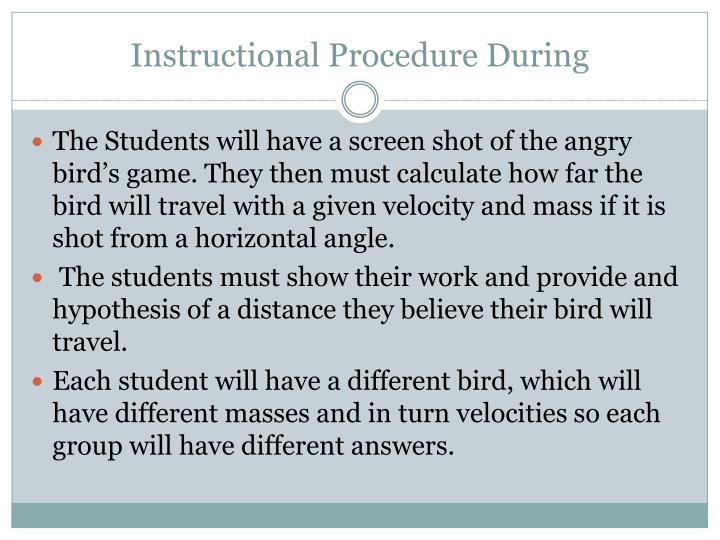Instructional Procedure During