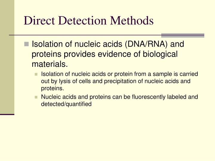 Direct Detection Methods
