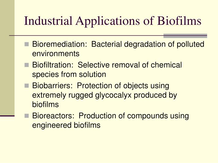 Industrial Applications of Biofilms