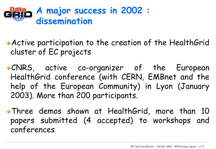 A major success in 2002 : dissemination