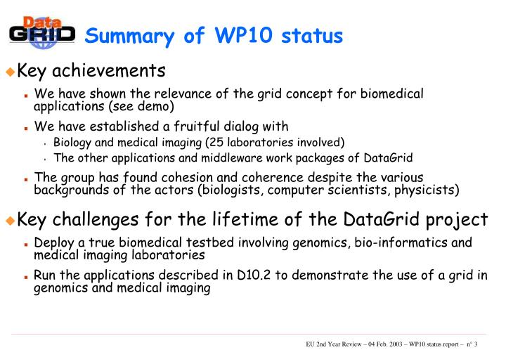 Summary of WP10 status