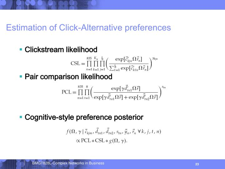 Estimation of Click-Alternative preferences