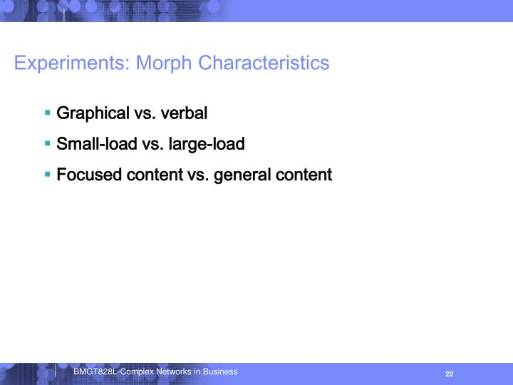 Experiments: Morph Characteristics