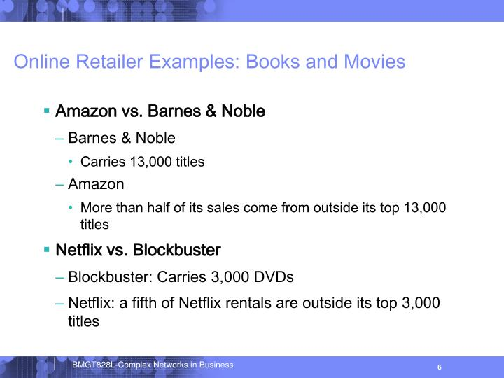 Online Retailer Examples: Books and Movies