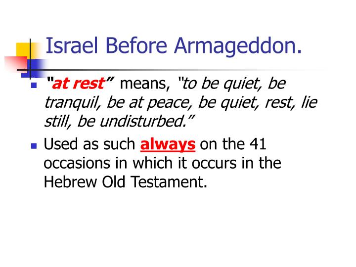 Israel Before Armageddon.