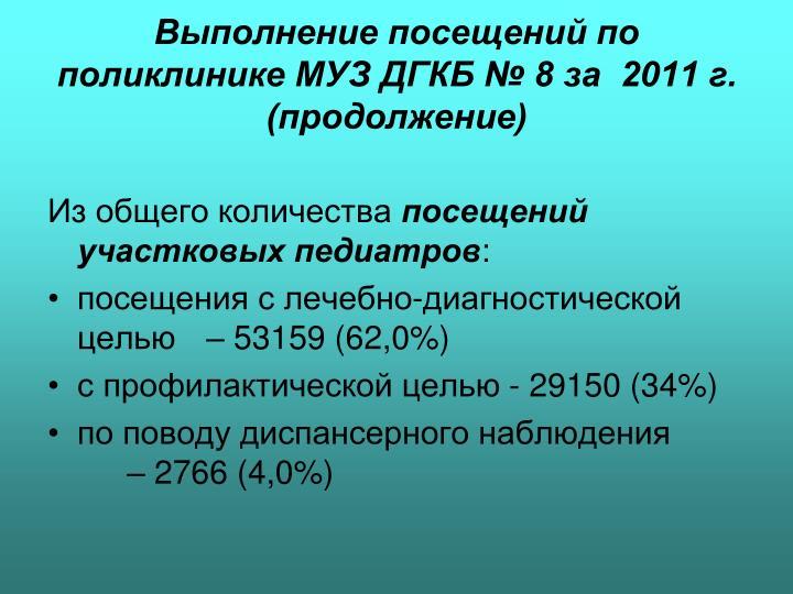 Выполнение посещений по поликлинике МУЗ ДГКБ № 8 за  2011 г. (продолжение)