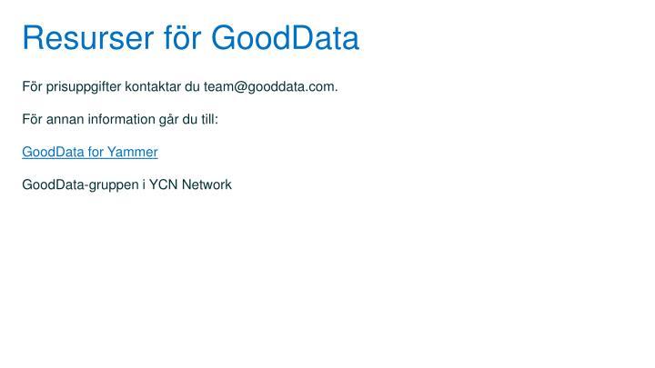 Resurser för GoodData