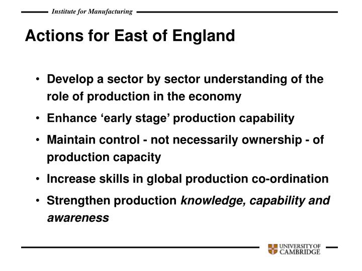 Actions for East of England