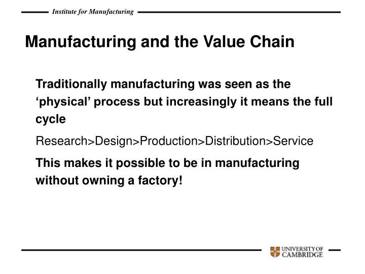 Manufacturing and the Value Chain