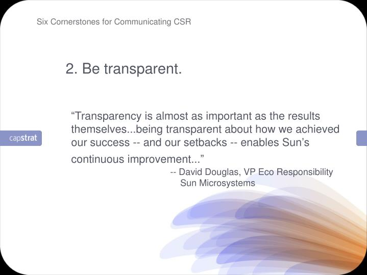 Six Cornerstones for Communicating CSR