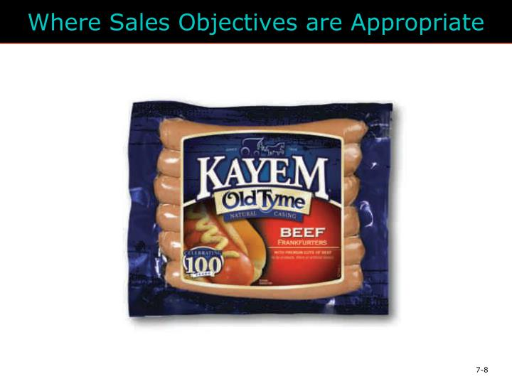 Where Sales Objectives are Appropriate