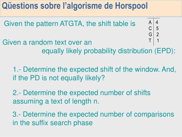Qüestions sobre l'algorisme de Horspool