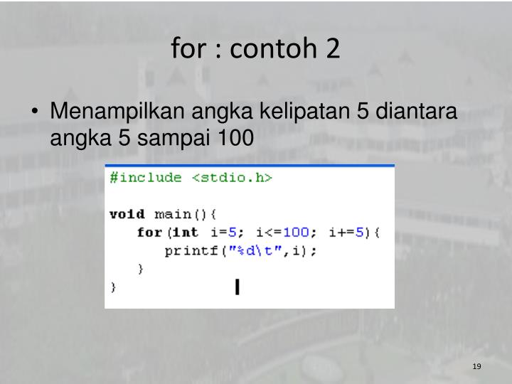 for : contoh 2