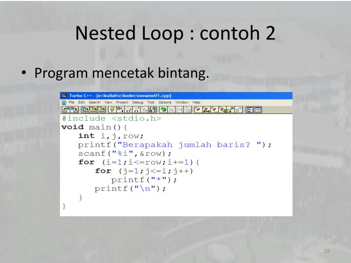 Nested Loop : contoh 2