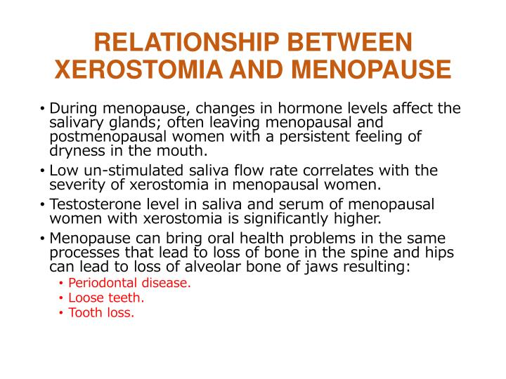 Relationship between xerostomia and menopause