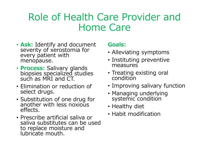 Role of Health Care Provider and Home Care