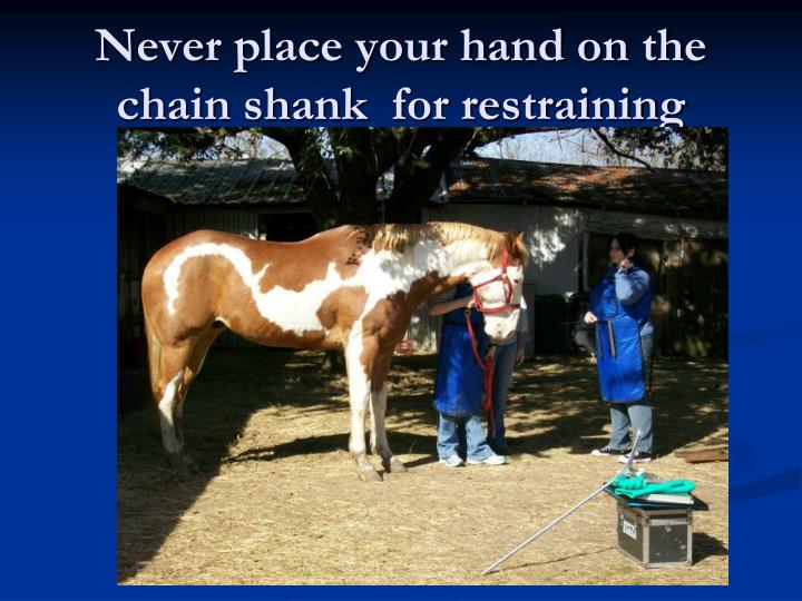 Never place your hand on the chain shank