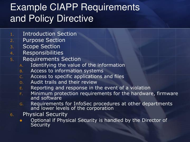 Example CIAPP Requirements