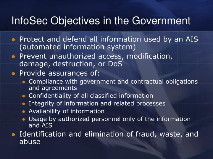 InfoSec Objectives in the Government